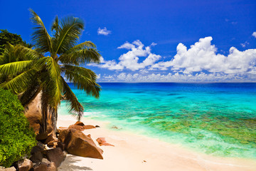 Tropical beach at island La Digue, Seychelles
