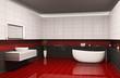 Badezimmer mit dem roten Boden 3d