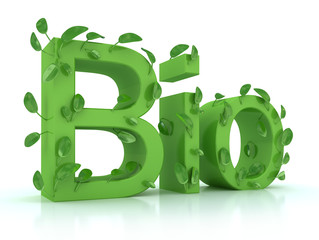 the word bio with leaves on the steams in green color over white