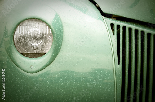 retro auto light and grille abstract