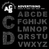 ADVERTISING. Alphabet. Illustration with association terms. poster