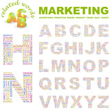MARKETING. Wordcloud alphabet with different association terms. poster