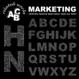 MARKETING. Alphabet. Illustration with association terms. poster
