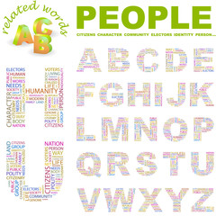 PEOPLE. Wordcloud alphabet with different association terms.
