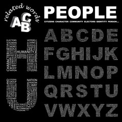 PEOPLE. Alphabet. Illustration with different association terms.