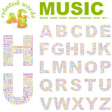 MUSIC. Wordcloud alphabet with different association terms. poster