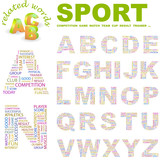 SPORT. Alphabet. Illustration with different association terms. poster