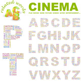 CINEMA. Wordcloud alphabet with different association terms. poster