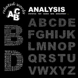 ANALYSIS. Alphabet. Illustration with association terms. poster