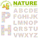 NATURE. Alphabet. Illustration with different association terms. poster