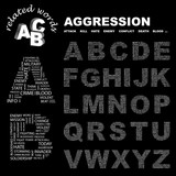 AGGRESSION. Vector letter collection. Wordcloud illustration. poster