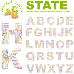 STATE. Vector letter collection.