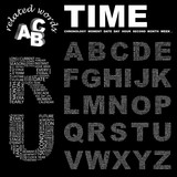 TIME. Alphabet. Illustration with different association terms. poster