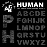 HUMAN. Alphabet. Illustration with different association terms. poster