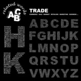 TRADE. Alphabet. Illustration with different association terms. poster