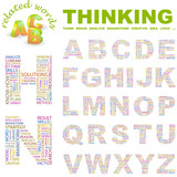 THINKING. Wordcloud alphabet with different association terms. poster