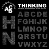 THINKING. Alphabet. Illustration with association terms. poster