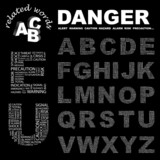 DANGER. Alphabet. Illustration with different association terms. poster