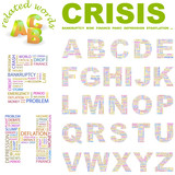 CRISIS. Alphabet. Illustration with different association terms. poster
