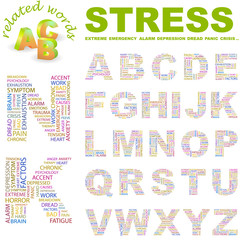 STRESS. Wordcloud alphabet with different association terms.