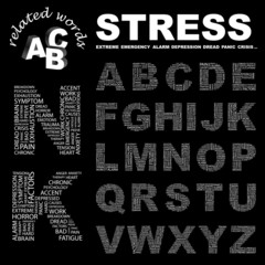 STRESS. Alphabet. Illustration with different association terms.