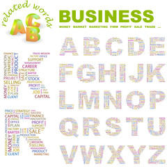 BUSINESS. Wordcloud alphabet with different association terms.
