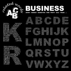 BUSINESS. Alphabet. Illustration with association terms.
