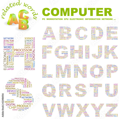 COMPUTER. Wordcloud alphabet with different association terms.