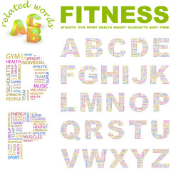 FITNESS. Wordcloud alphabet with different association terms.