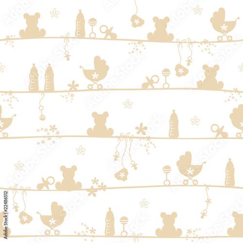 Seamless Pattern Baby Symbols Beige - 22486512
