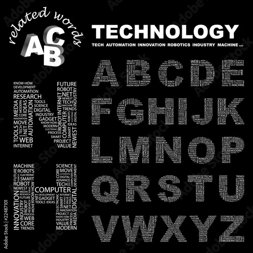 TECHNOLOGY. Vector letter collection.
