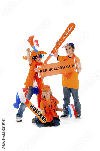 three  supporters from the dutch footballteam