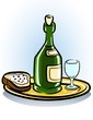 tray with sandwich glass and bottle of wine