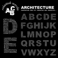 ARCHITECTURE. Alphabet. Illustration with association terms.