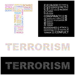 TERRORISM. Word collage. Vector illustration.