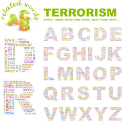 TERRORISM. Alphabet with different association terms.