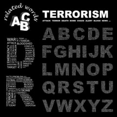 TERRORISM. Wordcloud alphabet with different association terms.