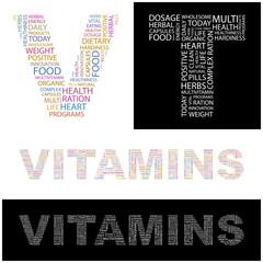 VITAMINS. Wordcloud vector illustration.