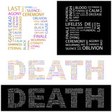DEATH. Wordcloud vector illustration. poster