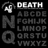 DEATH. Alphabet. Illustration with different association terms. poster