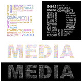 MEDIA. Wordcloud illustration. poster