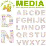 MEDIA. Vector letter collection. Wordcloud illustration. poster