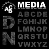 MEDIA. Alphabet. Illustration with different association terms.