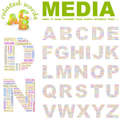 MEDIA. Vector letter collection. Wordcloud illustration.