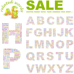 SALE. Alphabet. Illustration with different association terms.