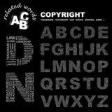 COPYRIGHT. Alphabet with different association terms.