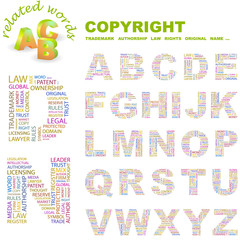 COPYRIGHT. Wordcloud alphabet with different association terms.