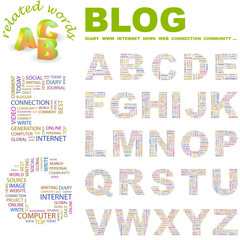 BLOG. Alphabet. Illustration with different association terms.