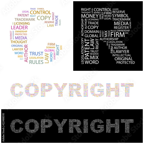 COPYRIGHT. Wordcloud vector illustration.