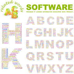 SOFTWARE. Wordcloud alphabet with different association terms.